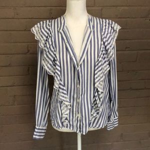 Gap. Blue & white striped ruffled cotton top M
